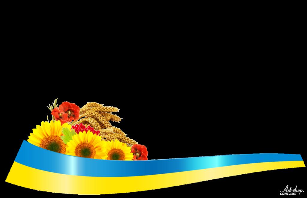 стрічка з квітами маками соняшниками прапор синьо-жовта