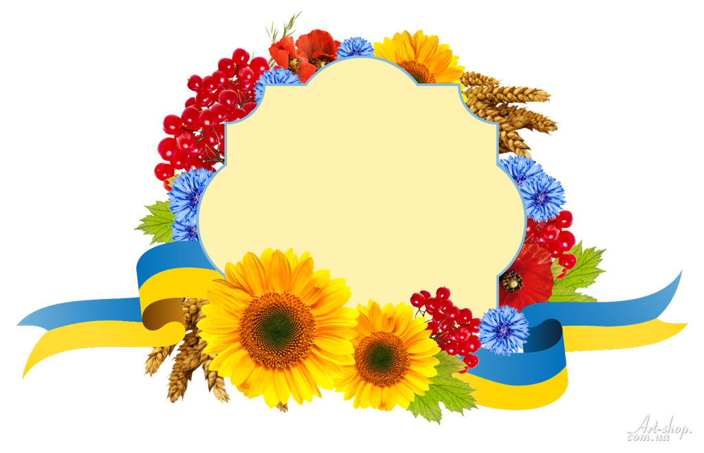 фон прапор з квітами калиною соняшник пшениця