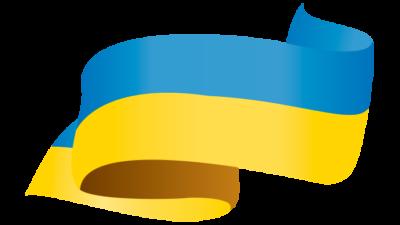 ленточка сине-желтая на прозрачном фоне